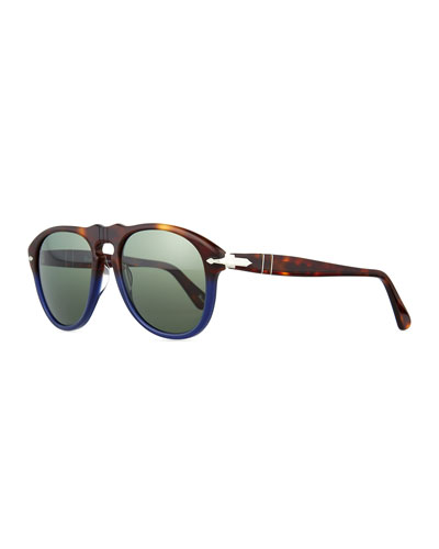 649-Series Acetate Polarized Sunglasses, Tortoise/Blue