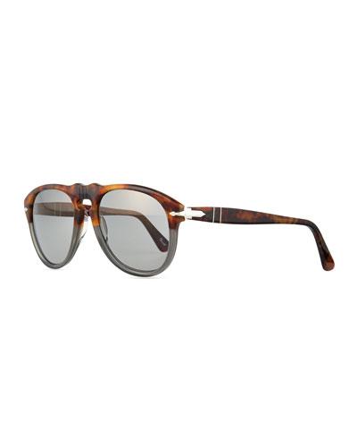649-Series Acetate Sunglasses, Gray/Tortoise
