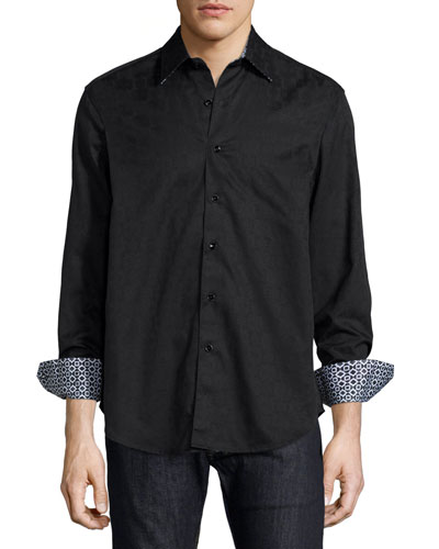 Cullen Jacquard Long-Sleeve Sport Shirt, Black