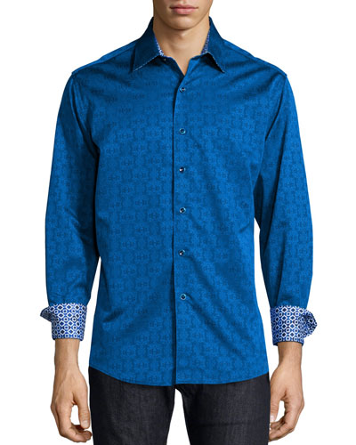 Cullen Jacquard Long-Sleeve Shirt, Navy