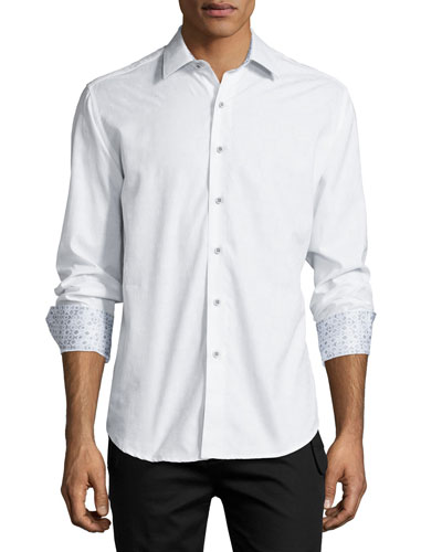 Cullen Long-Sleeve Jacquard Sport Shirt, White