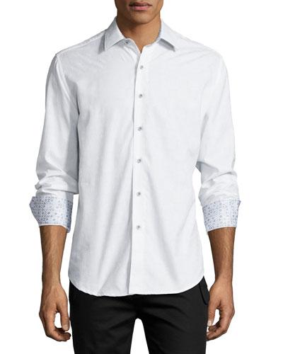 Cullen Long-Sleeve Jacquard Sport Shirt, White
