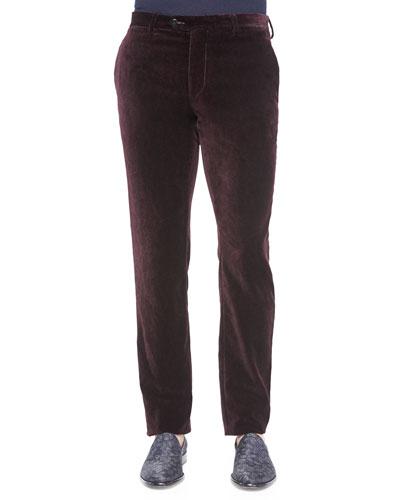 Printed Velvet Pants, Burgundy