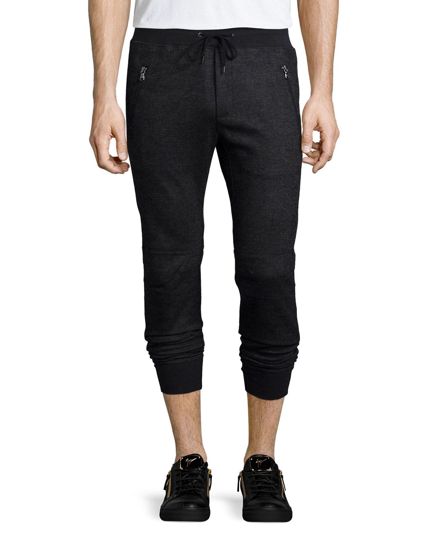 Tonal-Plaid Biker Pants, Charcoal