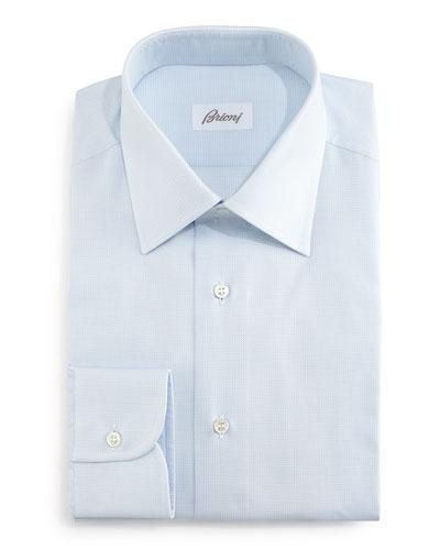 Tonal Textured Dress Shirt, Light Blue