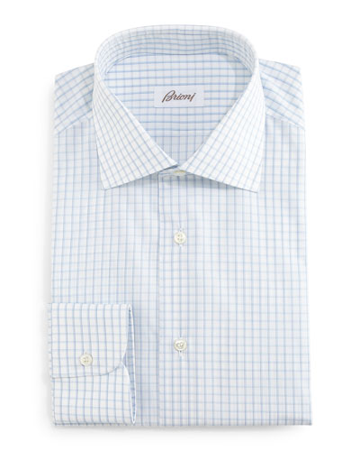 Grid-Box Check Dress Shirt, White/Blue