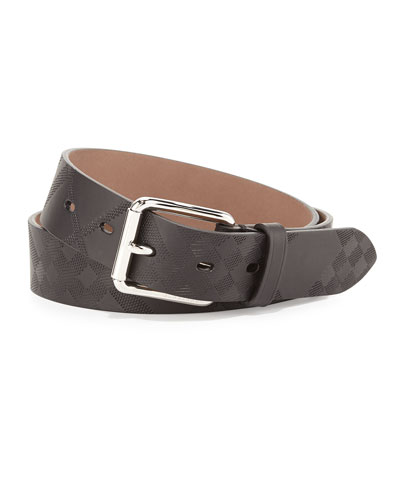 Mark Embossed-Check Leather Belt, Black
