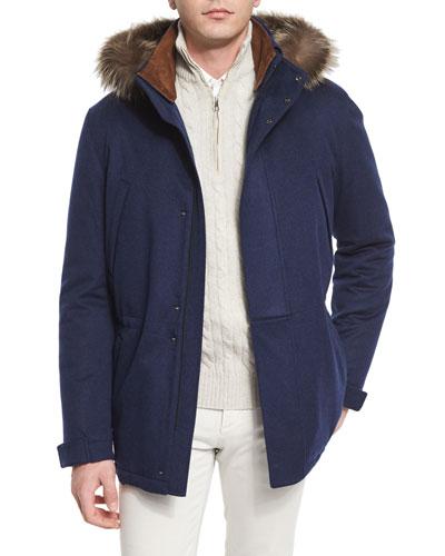 Icer Cashmere Storm Jacket with Fur-Trimmed Hood, Blue