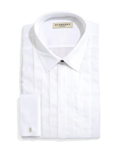 Eve Slim-Fit Tuxedo Shirt with Pleated Bib, White