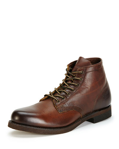 Men's Prison Leather Boot with Lugged-Sole, Dark Brown