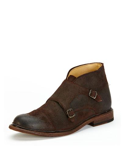Men's Jack Monk-Strap Suede Chukka Boot, Dark Brown
