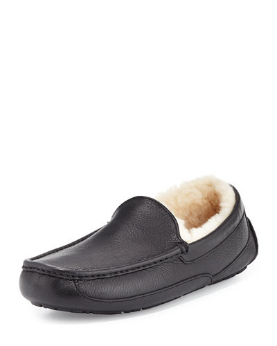 Ascot Leather Slipper, Black