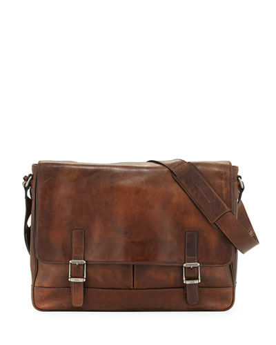 Oliver Men's Leather Messenger Bag, Dark Brown