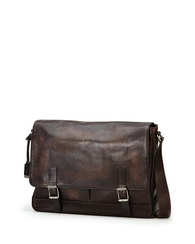 Oliver Leather Messenger Bag, Gray