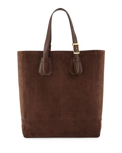 Men's Suede Tote Bag, Chocolate