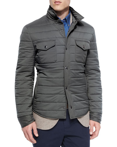 Milano Snap-Front Shirt Jacket, Charcoal