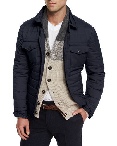 Milano Nylon Shirt Jacket, Navy
