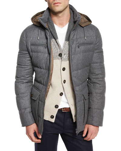 Milan Quilted Down Hooded Jacket, Gray