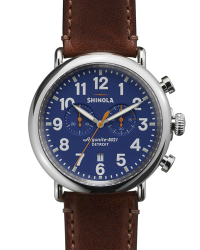 47mm Runwell Chronograph Men's Watch, Blue/Cognac