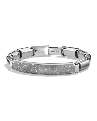 Men's Cable ID Bracelet with Meteorite