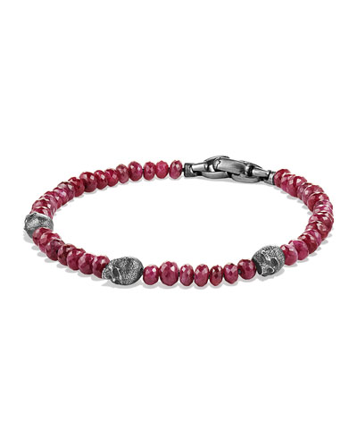 Men's Ruby Beaded Skull Station Bracelet