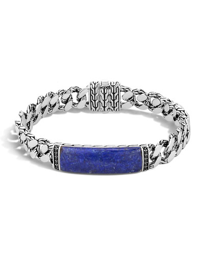 Gourmette Classic Chain Men's Bracelet with Lapis