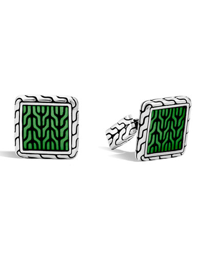 Woven Square Enamel Cuff Links, Green