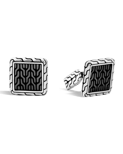 Woven Square Enamel Cuff Links, Gray