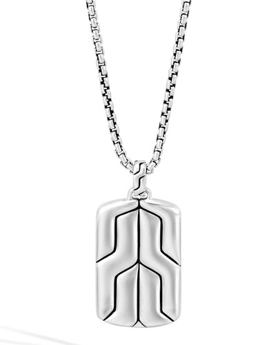 Silver Box Chain Dog Tag Necklace