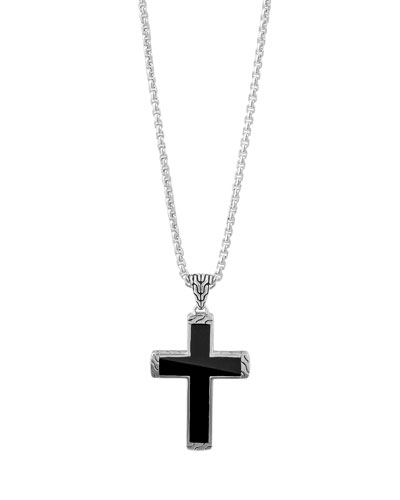 Men's Classic Chain Black Jade Cross Pendant Necklace
