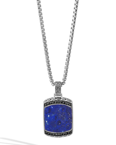 Men's Batu Classic Chain Lapis Dog Tag Pendant Necklace