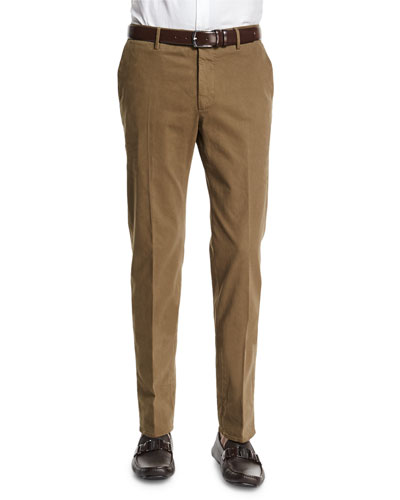 Standard-Fit Brushed Stretch Cotton Pants, Olive