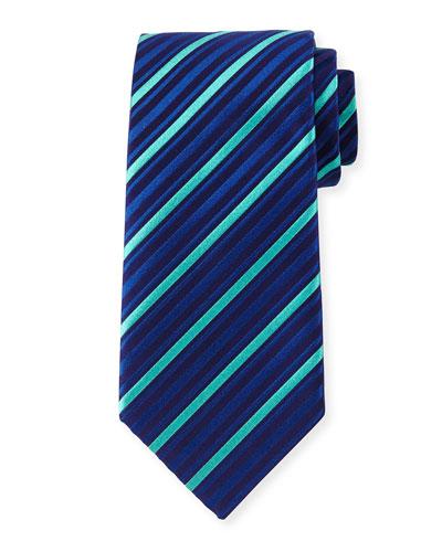 Striped Silk Tie, Blue/Aqua