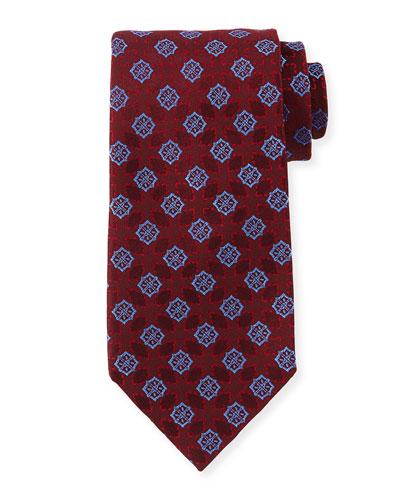 Medallion-Print Silk Tie, Red/Blue