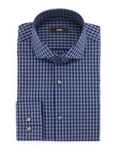 Jason Slim-Fit Mini-Gingham Dress Shirt, Blue
