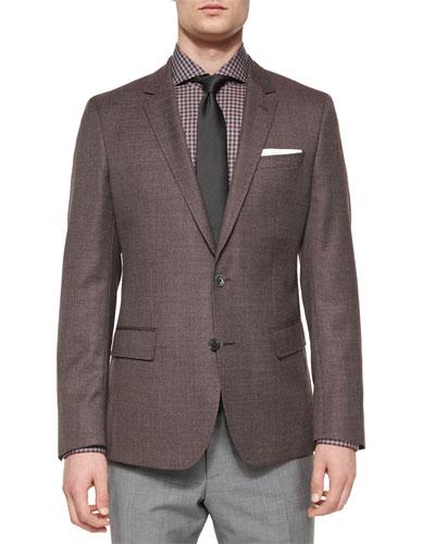 Houndstooth Slim-Fit Sport Coat, Gray