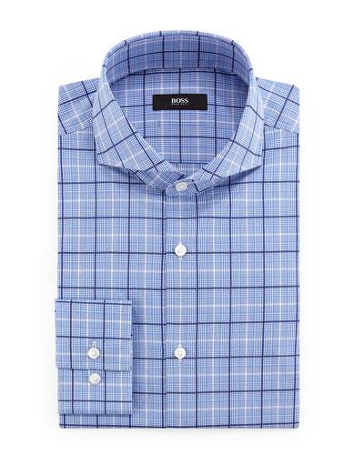 Dwayne Slim-Fit Plaid Dress Shirt, Blue/White