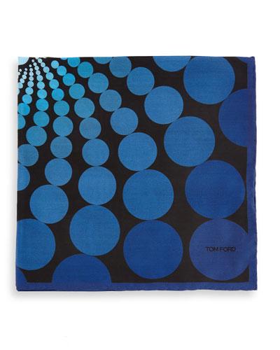 Floating Circle-Print Pocket Square, Blue