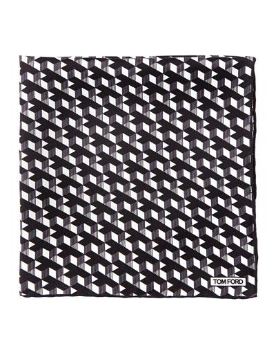 Geo-Print Silk Pocket Square, Black