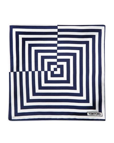 Linear Pattern Pocket Square, Blue/White