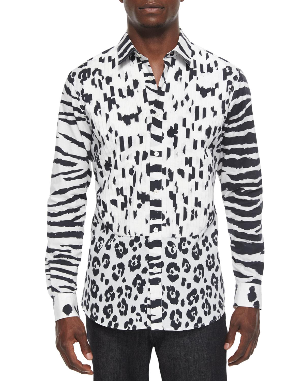 Animal-Print Long-Sleeve Woven Shirt, Black
