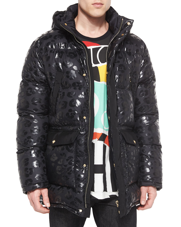 Animal-Print Hooded Puffer Jacket, Black