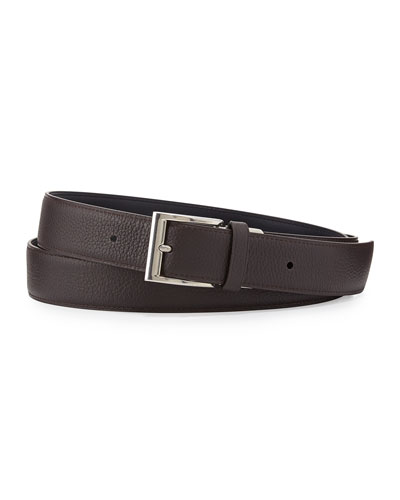 Reversible Grained Leather Belt, Brown/Light Blue