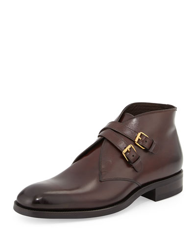 Edward Double-Buckle Boot, Burgundy