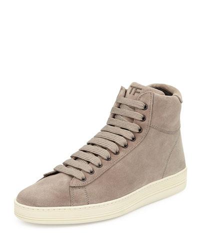 Russel Suede High-Top Sneaker, Light Gray