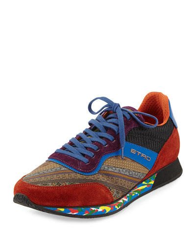 Paisley-Print Trainer Sneaker, Brown/Blue/Orange