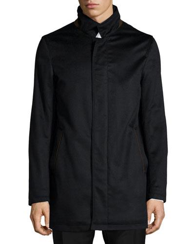 New Solferino Cashmere Car Coat, Black