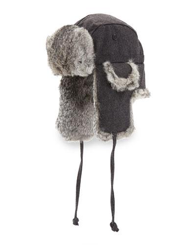 Wool Aviator Hat with Rabbit Fur, Charcoal