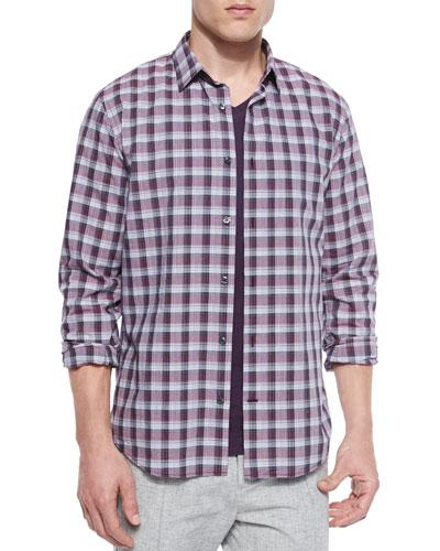 Melange Plaid Sport Shirt, Plum