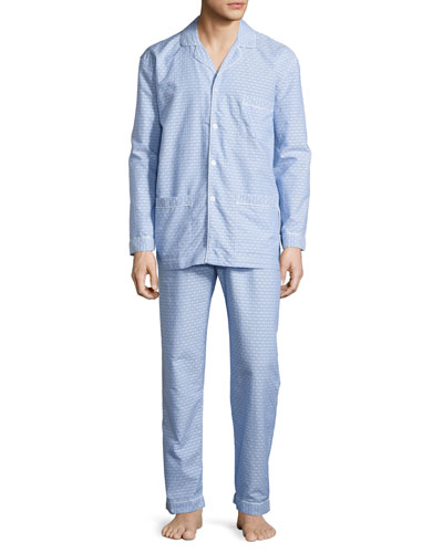 Dot-Print Cotton Pajama Set, Blue